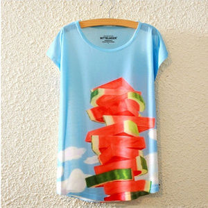 Lightweight Short Sleeves Top Watermelon and Sky